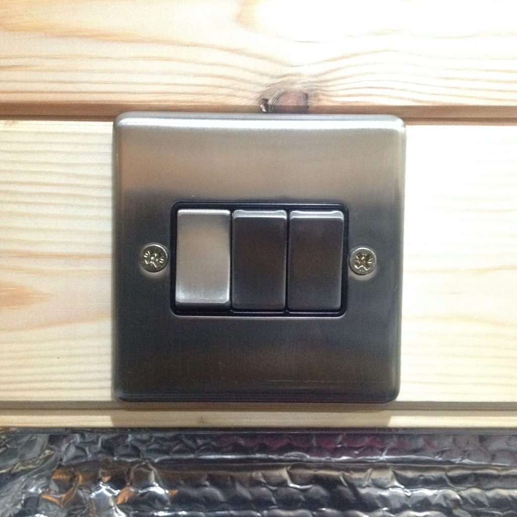 Camper van 3 gang brushed chrome light switches