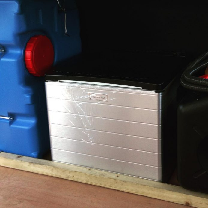 The Fiamma 70L water tank and Dometic Combicool RC2200 Fridge